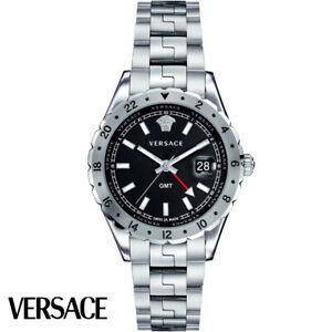 Versace-V11020015-Hellenyium-GMT-schwarz-silber-Edelstahl-Herren-Uhr-NEU