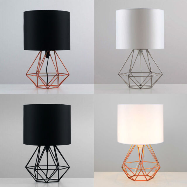 Decorative retro geometric table lamp with drum shade bedside home lighting