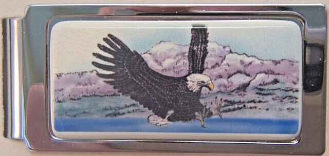 Money Clip Barlow Photo Reproduction Color Train Hinged Silver Steam 526414c NEW
