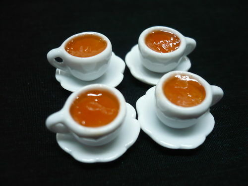 4  Set Small Cups of Tea Hot Dollhouse Miniatures Food Supply Deco