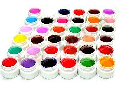 36 Pots Pure Colors Decor UV Gel Nail Art Tips Shiny Cover Extension Manicure