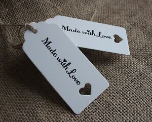 Image Is Loading MADE WITH LOVE Gift Tags Labels White Rustic