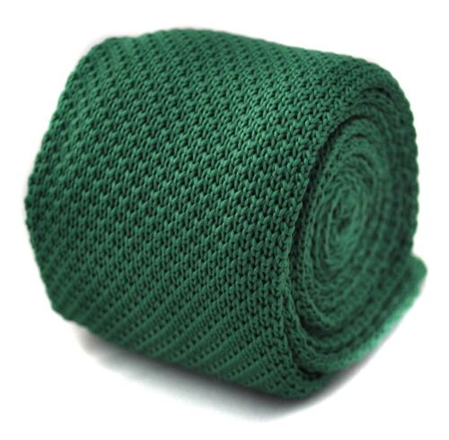Details about  /Frederick Thomas Knitted Silk Mens Tie Emerald Green Pointed End Plain 8cm