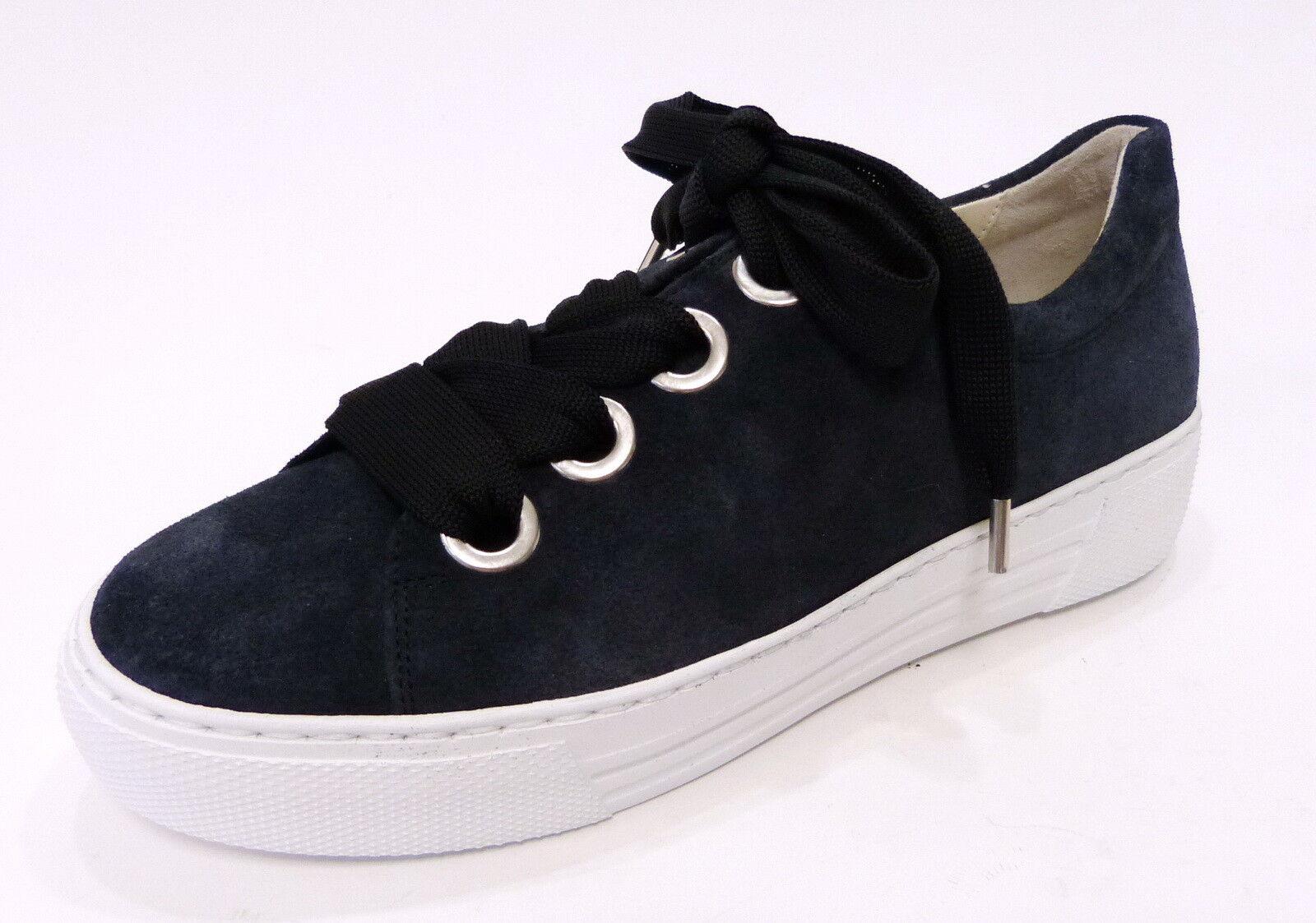 Gabor Comfort Sneaker 464 46 blue ocean Halbschuh Schnür Nubuk Leder Dreamvelour