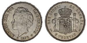 5-SILVER-PESETAS-PLATA-DURO-ALFONSO-XIII-MADRID-1892-BUCLES-XF-EBC