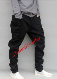 Boy-Mens-Black-Harem-Pants-Loose-Jogger-Cargo-Carpenter-Long-Flare-Trousers-Hot