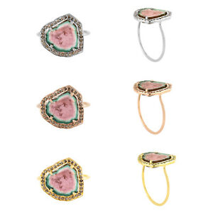 14k-Solid-Gold-0-26ct-Genuine-Diamond-Watermelon-Tourmaline-Cocktail-Ring-Size-7