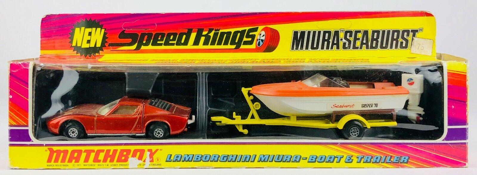 TEAM MATCHBOX SPEEDKINGS -LAMBORGHINI MIURA-BOAT & TRAILER- MODEL K-29 BOXED