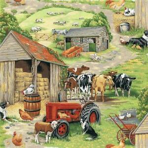 Fat-Quarter-In-The-Country-Tractor-Farm-Scenic-Cotton-Quilting-Fabric-Nutex
