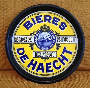 BIERES-DE-HAECHT-Plateau-de-bar-Plaque-emaillee-1920-1930-RARE