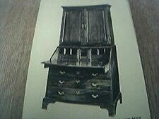 postcard old undated unused mahogany bureau bookcase 18th c