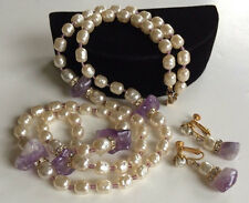 Vintage Miriam Haskell Necklace & Earrings Set~Baroque Pearls/Amethyst/Crystals
