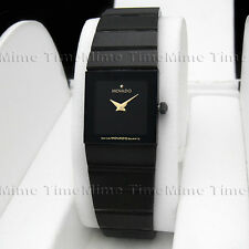 Women's Movado SAPPHIRE PVD Ceramic Square Black Dial Vintage Swiss Watch RARE!
