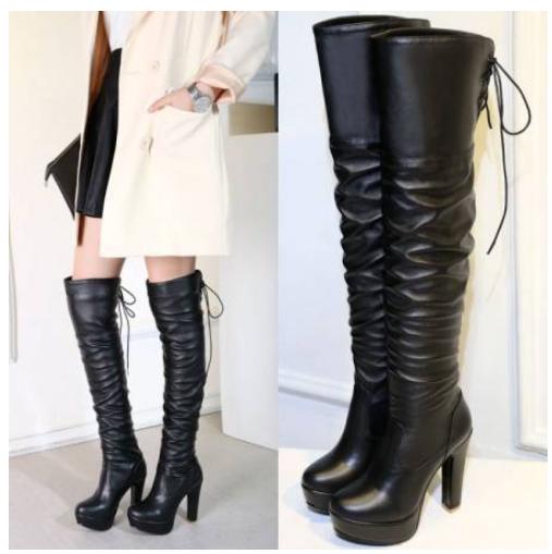 Women Platform Platform Platform Block Heels Side Zip Slouch Top Lace Up Over The Knee Boots shoes 5ad006