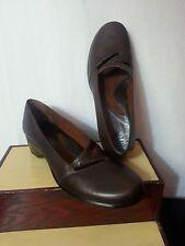 Clark Artisan Women Brown Leather Shoes Mary Jane Strap Heel Wedges Brazil 7 N