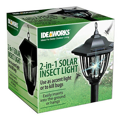 2 in 1 Solar Insect Light Zapper Accent Light Kill Bugs Hanging LED Mosquito NEW