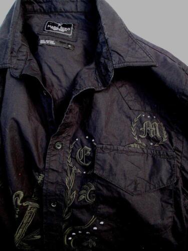 Marc Western Zwart mouw Ecko Studs Zilver Shirt Katoen M lange Borduurwerkzwaard met wfqaxC