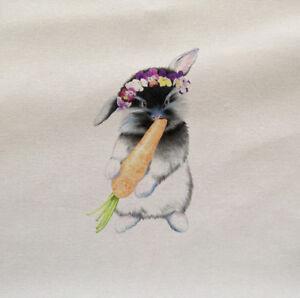 Rabbit-Cute-Flowers-Animal-Wilflife-Fabric-Panel-Cushion-Upholstery-Craft