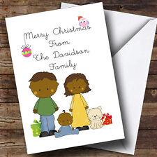 Dark Skinned Baby Boy & Cat Personalised Christmas Card