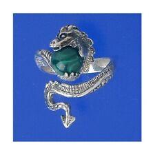 GENUINE MALACHITE DRAGON CLAW VINTAGE DESIGN SILVER MENS RING #0105 BK222