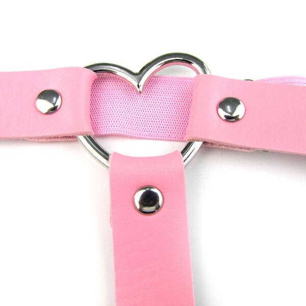 New Unisex Männer Frauen PU Leder Strumpfband Legierung Herz Ring Decor 4 Farben