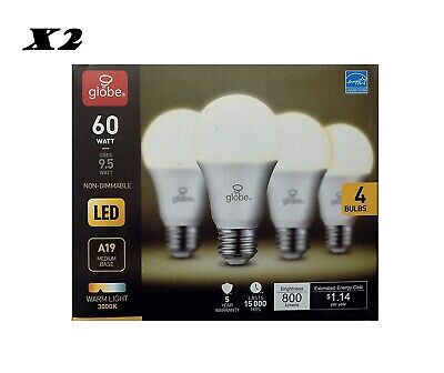E26 Base 4-Pack A19 LED Light Bulb 3000K Globe Electric 60W Equivalent Soft White 30373 800 Lumens