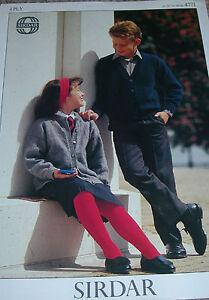 Sirdar-Knitting-Pattern-Boy-039-s-Girl-039-s-4Ply-VNeck-Round-Neck-Cardigans-4771-SCHOOL
