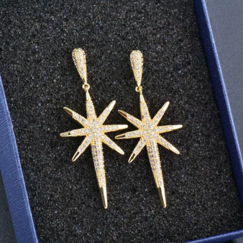 Personality Design Big Star Drop Earrings Women Luxury Tiny Crystal Silver Ear