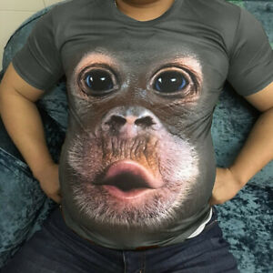 Men-039-s-3D-Printed-Fashion-T-shirt-Clothing-Casual-Short-sleeve-Tops-Gorilla-UK