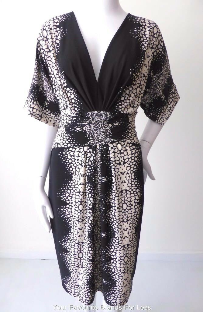 NICOLA FINETTI - NEW -  Größe 10 - 12 US 6 - 8 Made in Australia Dress  Mock Wrap