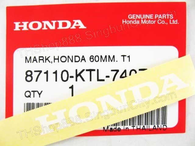 2x HONDA 60mm STICKER T1 EMBLEM LOGO MARK white genuine 87110-KTL-740ZA oem tape