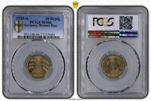 Weimar 10 Pfennig 1935 A Brilliant Uncirculated PCGS MS66 (37493)