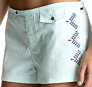 Roxy Delicate Touch Boardshorts Damen lindgrün//weiß gestreift mit Stickerei NEU