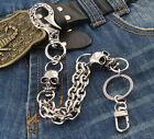 Short Skull Connect Classic Biker Trucker Keychain Key Jean Wallet Chain CS100