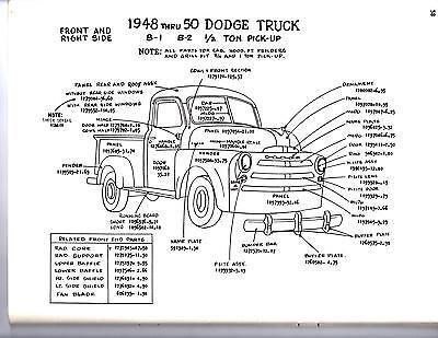 dodge parts diagram 1951 1952 1953 dodge truck 1 2 3 4 1 ton exterior body parts  1951 1952 1953 dodge truck 1 2 3 4 1