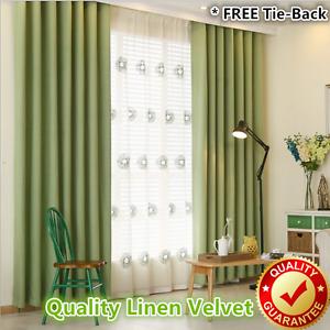 Image Is Loading Green Linen Velvet 80 Blockout Blackout Eyelet Curtains