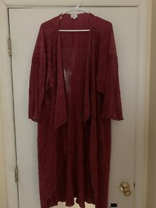 BNWT-LuLaRoe-Shirley-Size-Large-Ribbed-Chiffon-Kimono-Cover-Up-Deep-Fuchsia-Pink