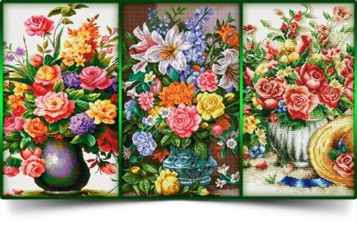 3 x Full Bloom Charts Cross Stitch Chart Digital Format