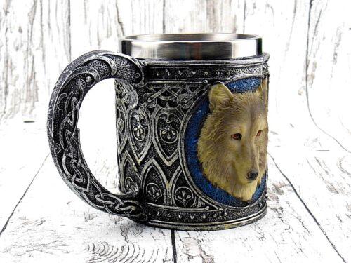 Bierkrug Weißer Wolf Hund Krug Kelch Indianer Edelstahleinsatz Gothic Spirit