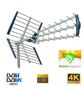 Antenna Kit Tv Digitale Terrestre Esterna Alto Guadagno UHF DVB-T2 Direttiva
