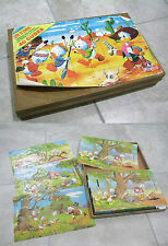 Vintage Disney TOY France Jouets 40 Cube Block Puzzle Game Mickey Mouse Donald