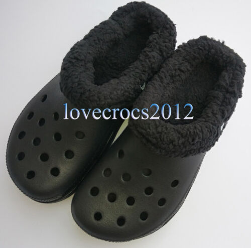 Unisex Croc Mammoth Winter Warm Removable Fur Shoes Lined Breathable Slippers