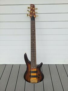 Ibanez SR756 electric bass guitar 6 String Brown Sunburst plat Bartolini Gold HW