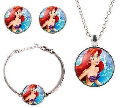 Earring Bracelet Set Little Mermaid Glass Dome Pendant Necklace
