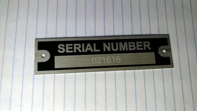 ENGRAVED SERIAL NUMBER PLATE DATA IDENTIFICATION VEHICLE ID TAG VIN FREE SHIP