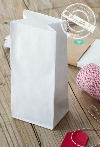 10 Geschenktüten SCALLOP Papiertüten Papiertaschen Tüten Papier weiß  elegant