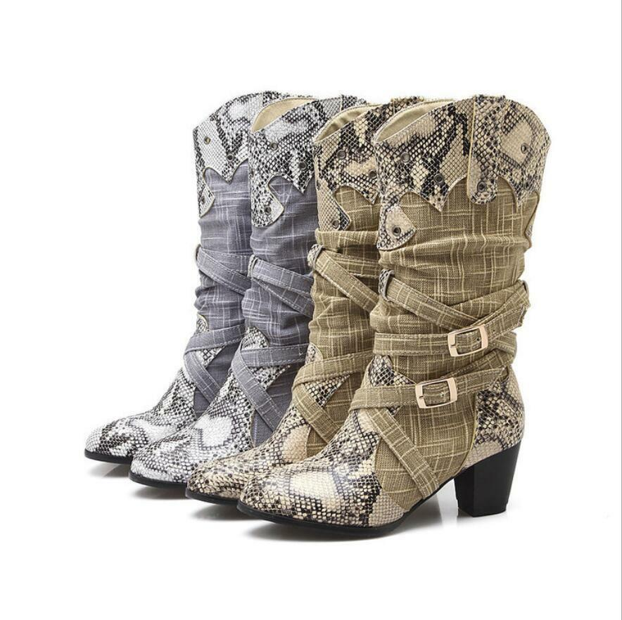 Womens Snake Print Wide Leg Mid Calf Mid High Block Heel Riding Boots Shoes Size