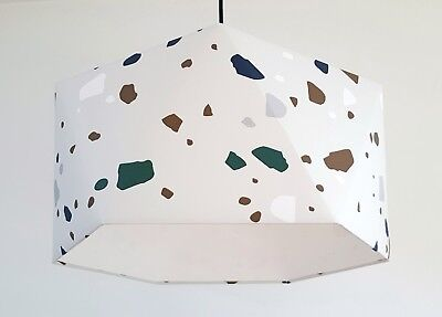 Handcrafted Geometric Hexagonal Ferm Living Terrazzo Wallpaper Lampshade Ebay