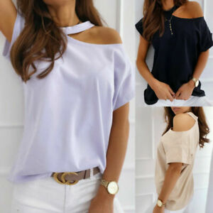 Womens-Summer-Cold-Shoulder-T-Shirt-Ladies-Summer-Beach-Loose-Tops-Blouse-6-12