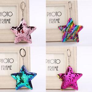 Pentagram-Sequin-Keychain-Pendant-Reflective-Glossy-Star-Keyfob-PU-Keyring